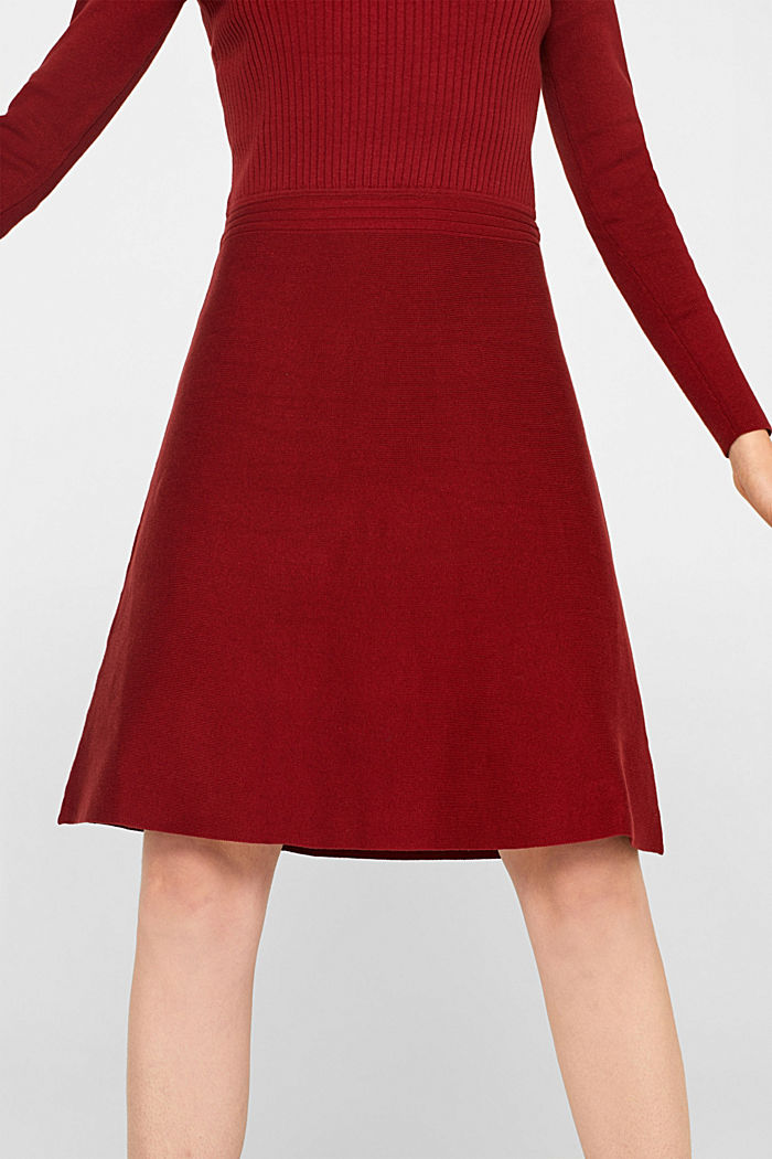 Knit dress with a ribbed texture, TERRACOTTA, detail image number 3