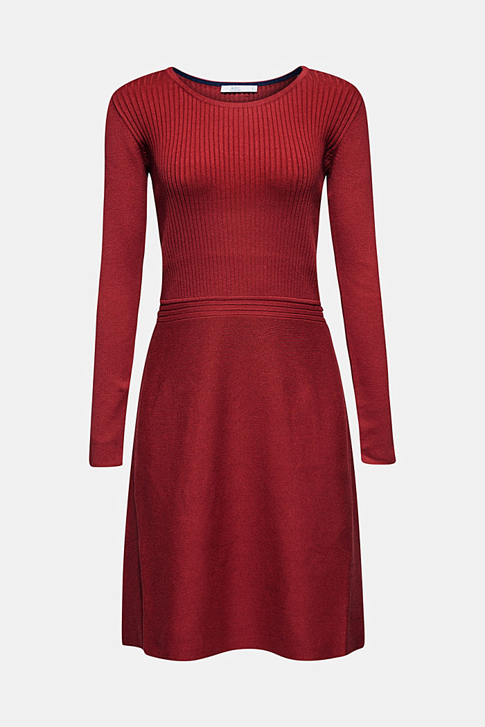 Knit dress with a ribbed texture, TERRACOTTA, detail image number 6