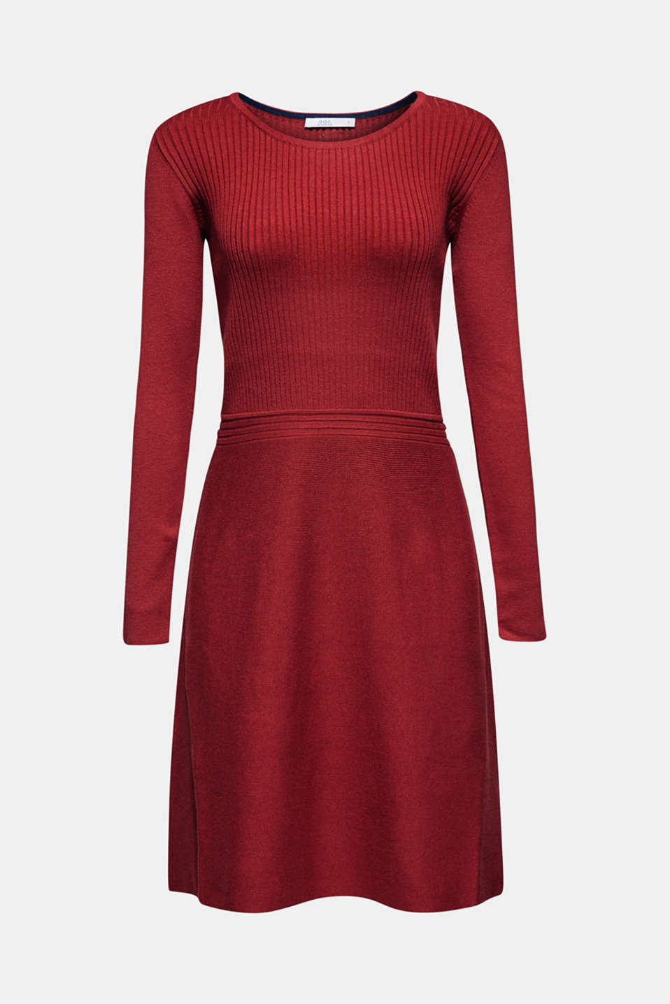 Knit dress with a ribbed texture, TERRACOTTA 5, detail image number 6
