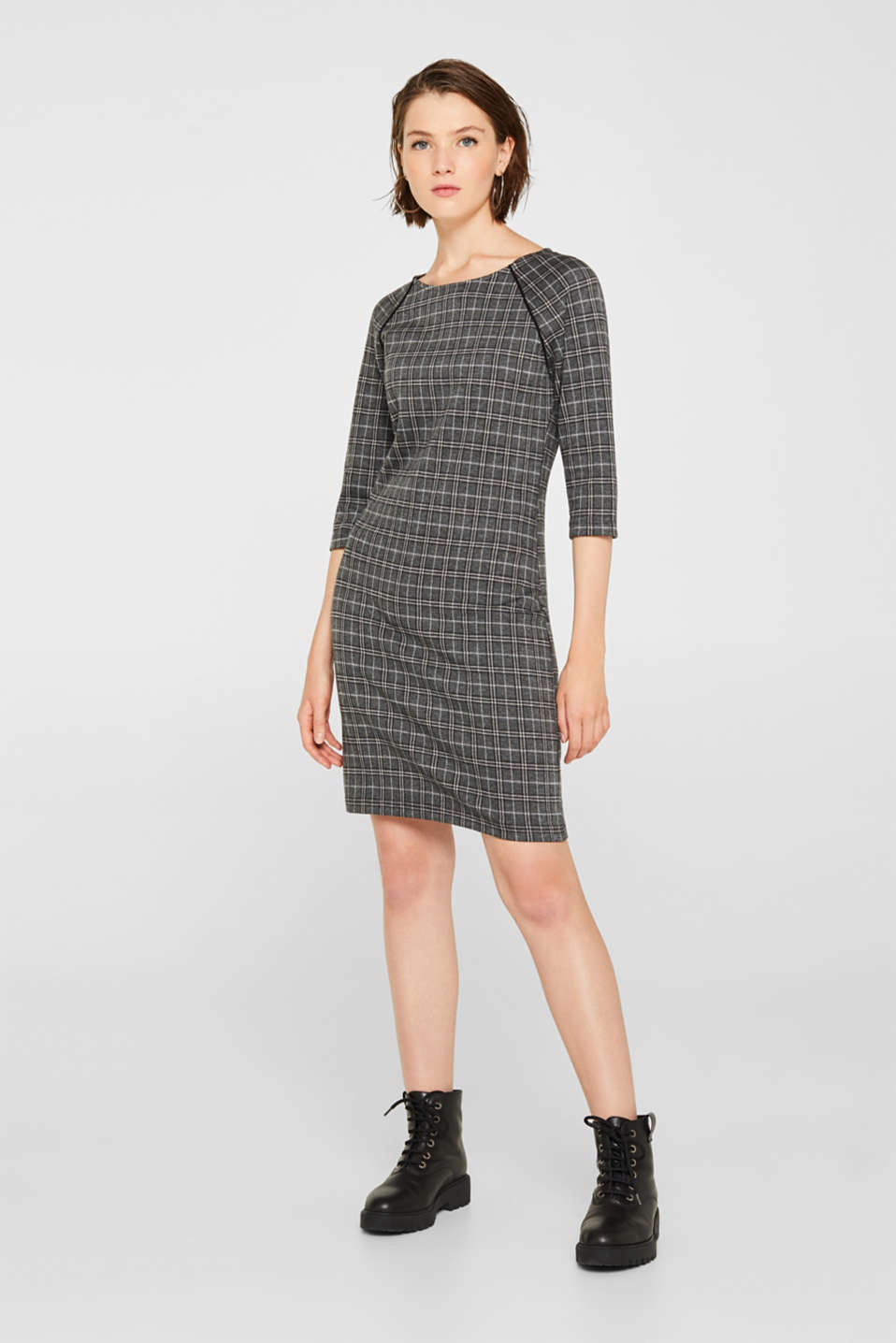 Checked stretch jersey dress, LIGHT GREY 5, detail image number 0