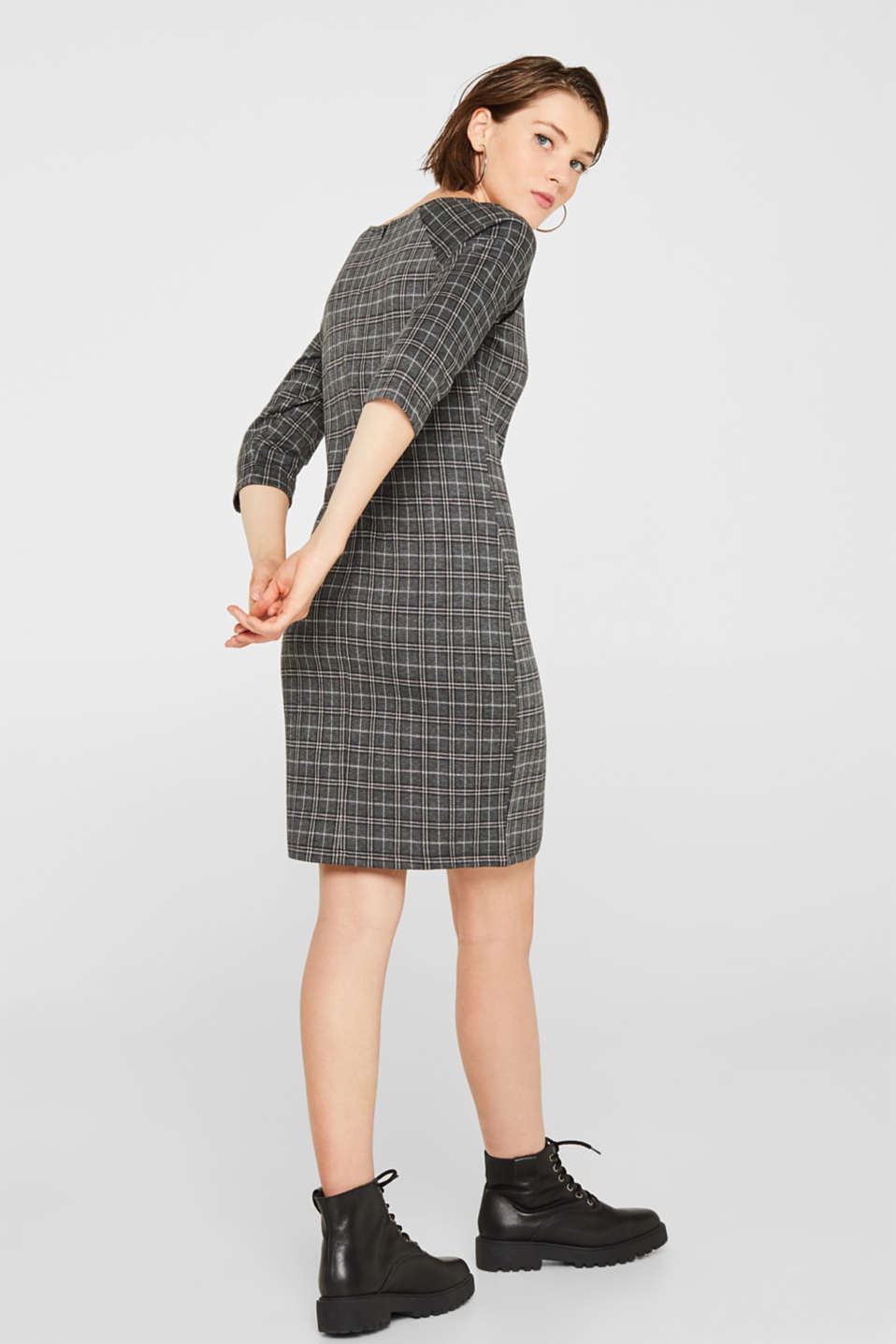 Checked stretch jersey dress, LIGHT GREY 5, detail image number 2