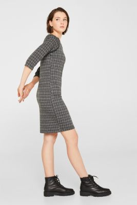 Checked stretch jersey dress, LIGHT GREY 5, detail