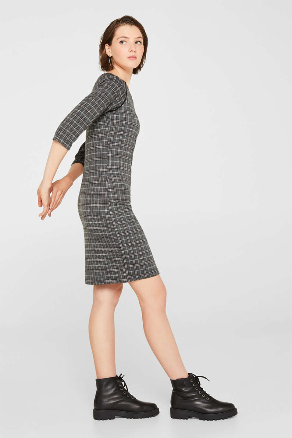 Checked stretch jersey dress, LIGHT GREY 5, detail image number 1