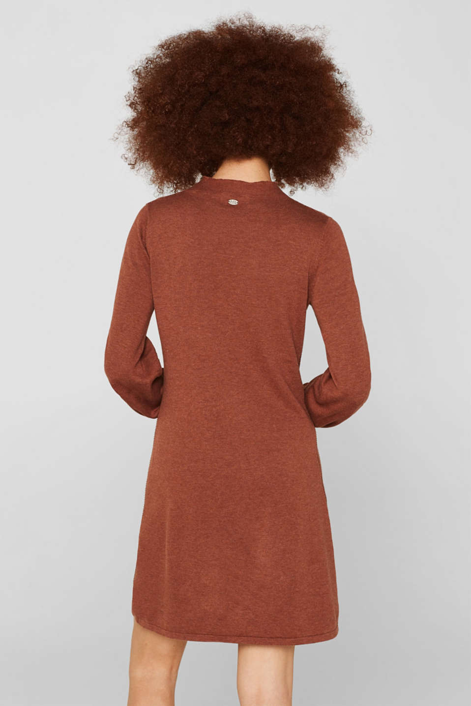Knitted dress with balloon sleeves, 100% cotton, RUST BROWN 5, detail image number 2