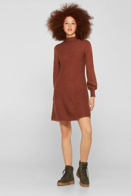 Knitted dress with balloon sleeves, 100% cotton, RUST BROWN 5, detail
