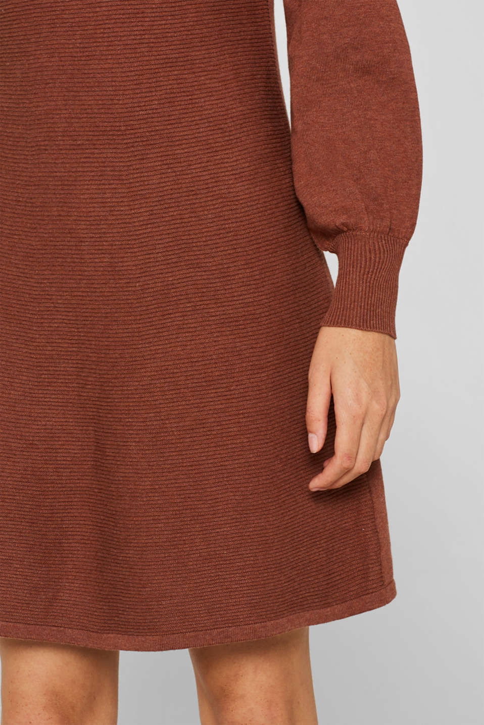 Knitted dress with balloon sleeves, 100% cotton, RUST BROWN 5, detail image number 3