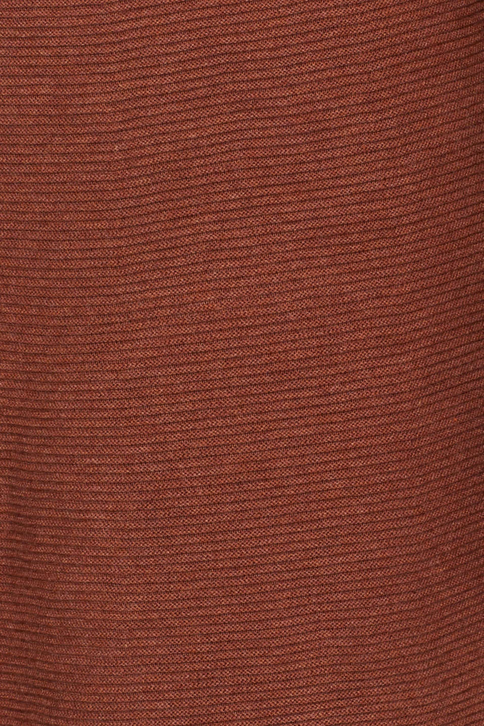 Knitted dress with balloon sleeves, 100% cotton, RUST BROWN 5, detail image number 4