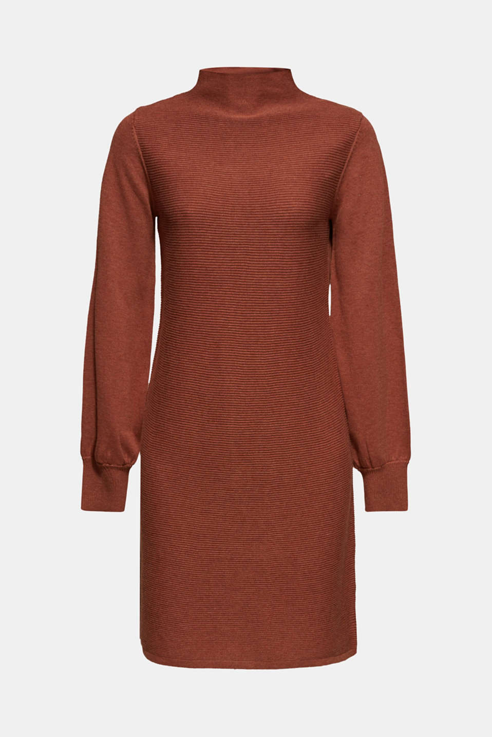 Knitted dress with balloon sleeves, 100% cotton, RUST BROWN 5, detail image number 6