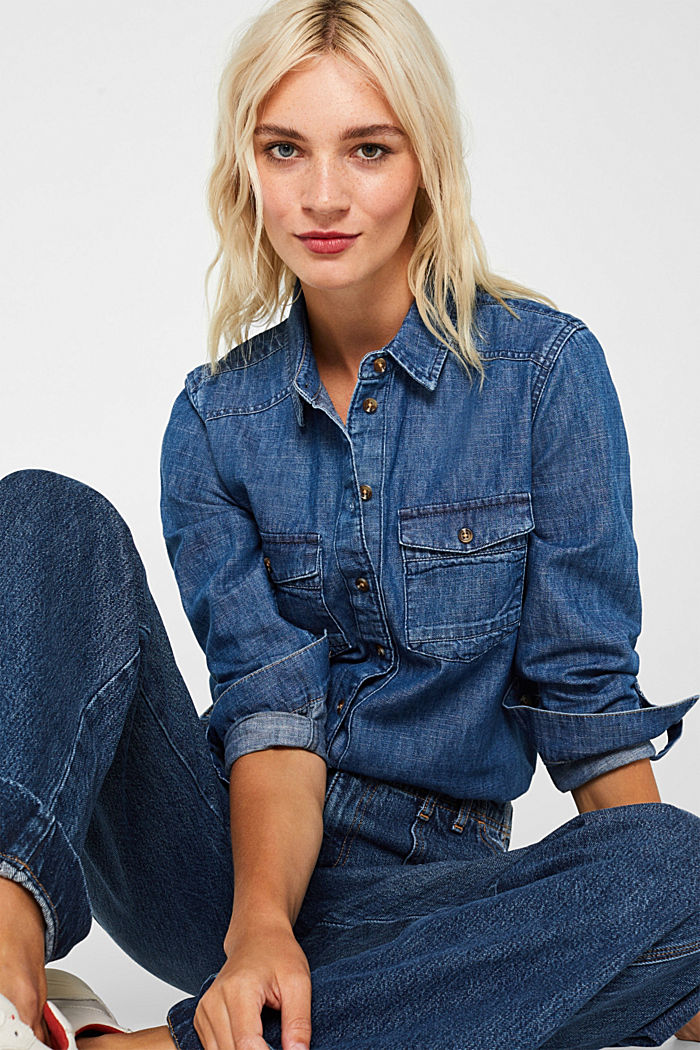 Denim blouse with turn-up sleeves, BLUE DARK WASHED, detail image number 0