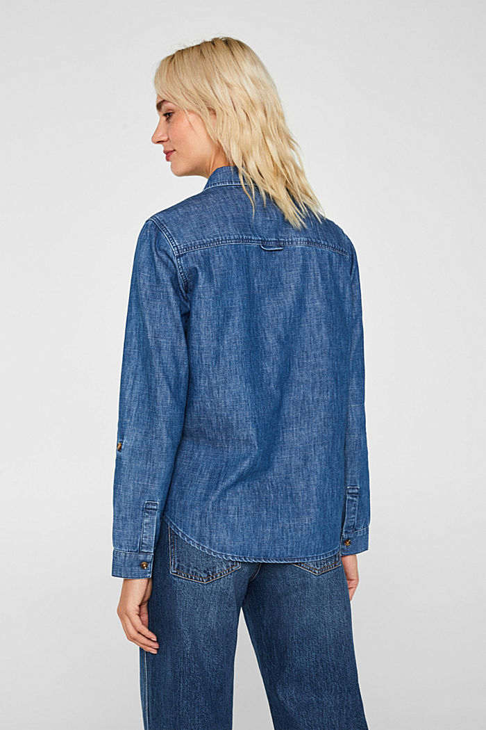 Denim blouse with turn-up sleeves, BLUE DARK WASHED, detail image number 3
