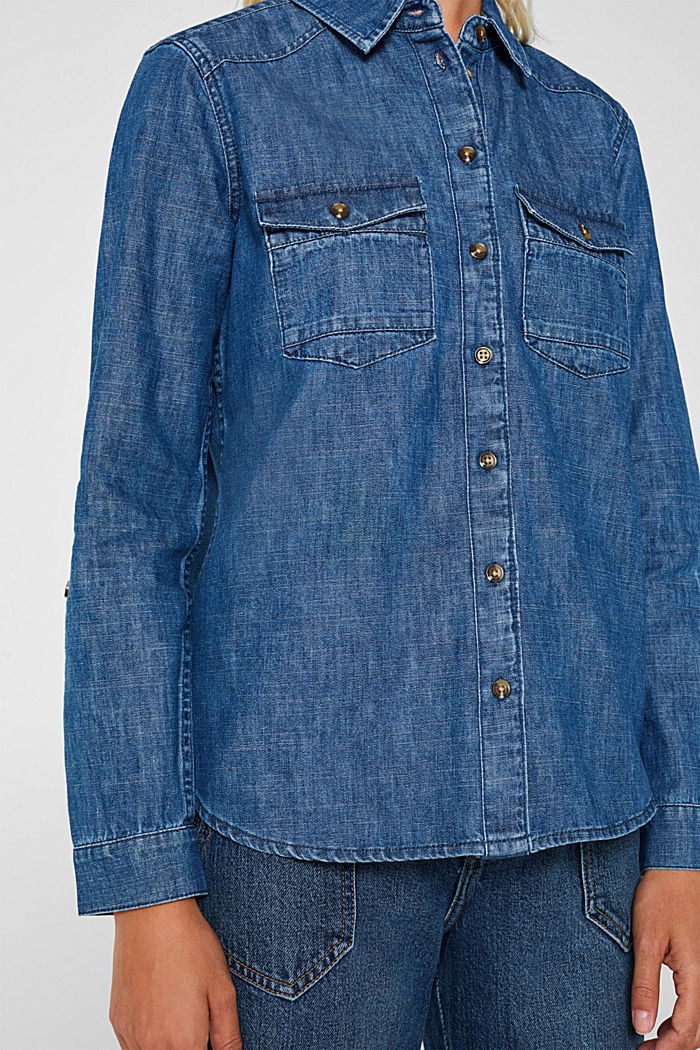 Denim blouse with turn-up sleeves, BLUE DARK WASHED, detail image number 2