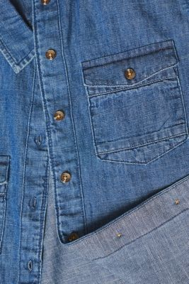 Denim blouse with turn-up sleeves, BLUE DARK WASH, detail
