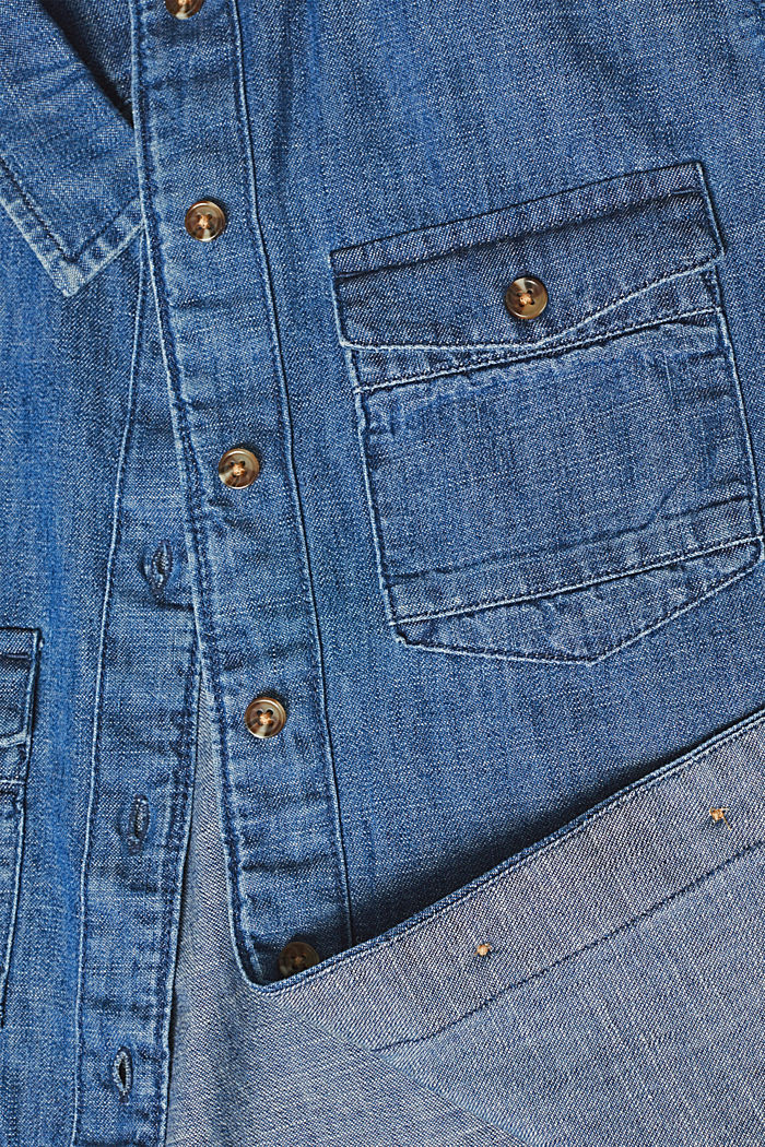 Denim blouse with turn-up sleeves, BLUE DARK WASHED, detail image number 4