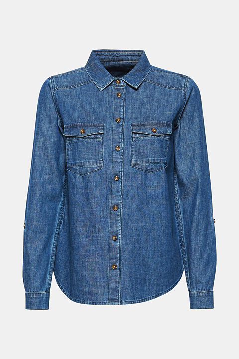 Denim blouse with turn-up sleeves