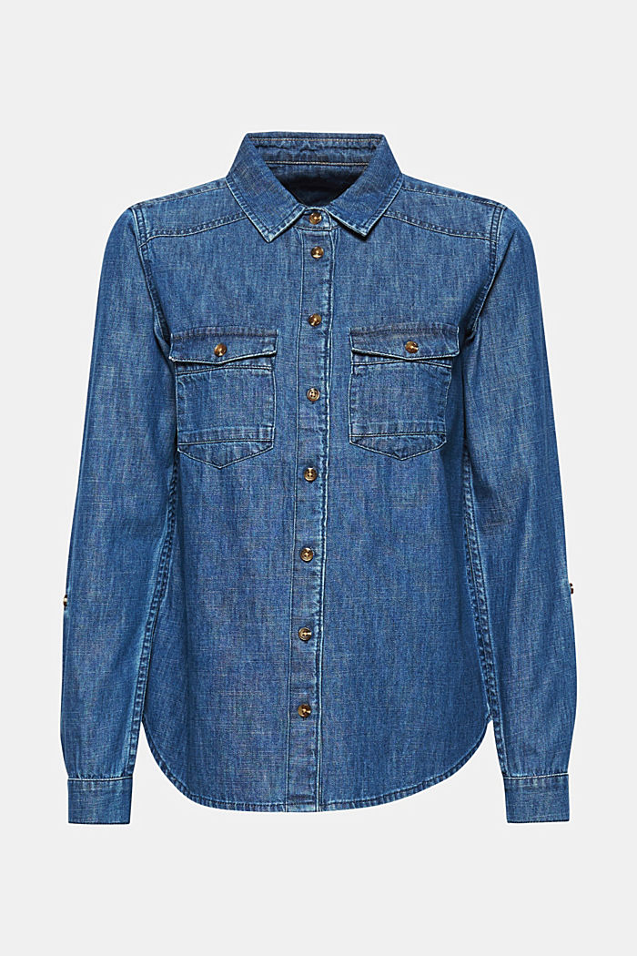Denim blouse with turn-up sleeves, BLUE DARK WASHED, detail image number 5