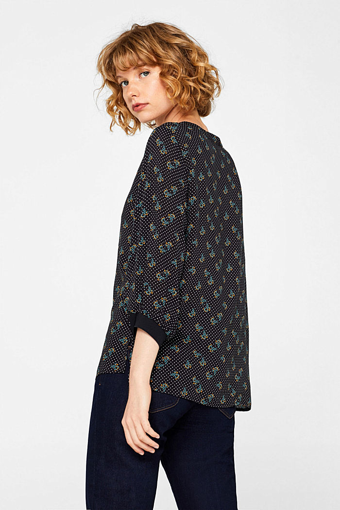 Print blouse with jersey details, BLACK, detail image number 3