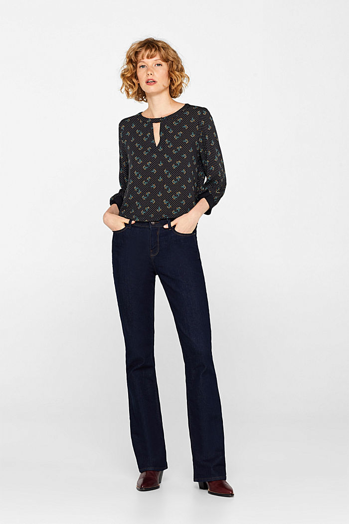 Print blouse with jersey details, BLACK, detail image number 1
