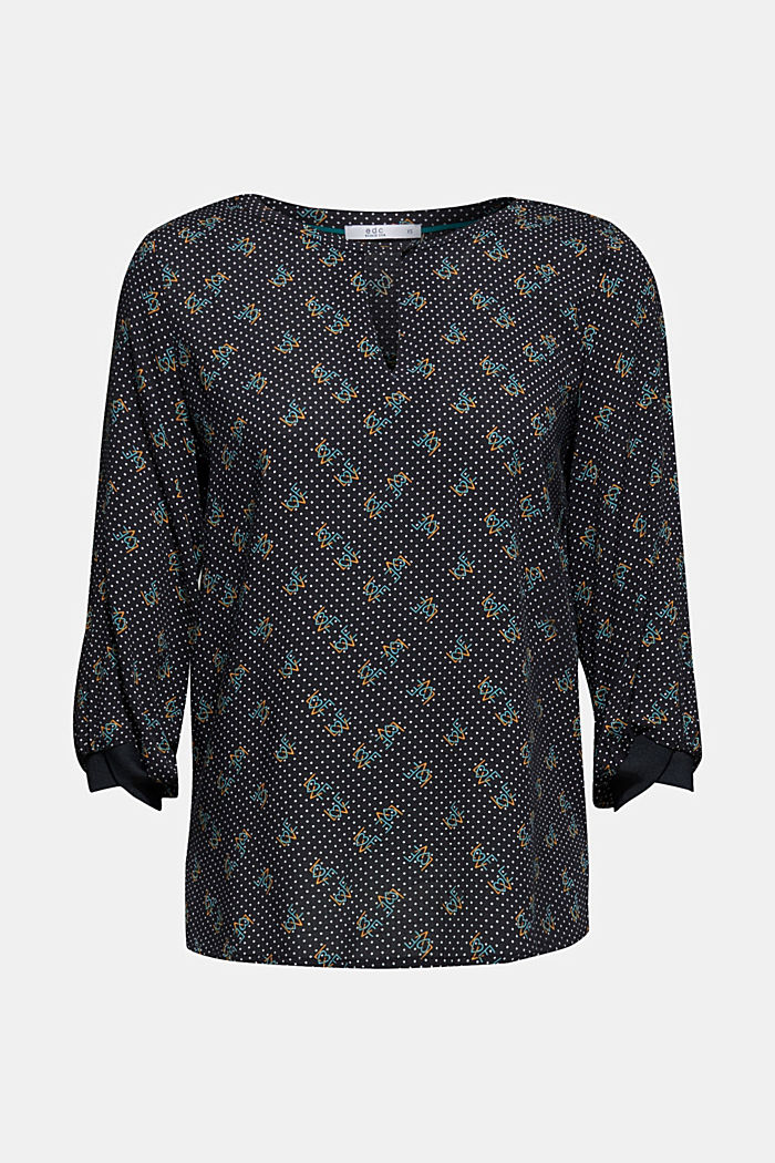 Print blouse with jersey details, BLACK, detail image number 0
