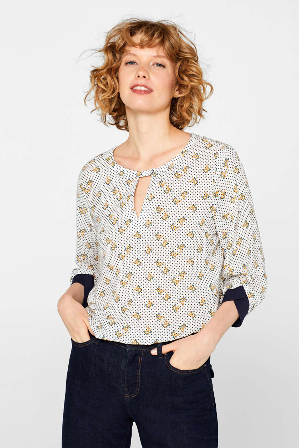 edc - Print blouse with jersey details