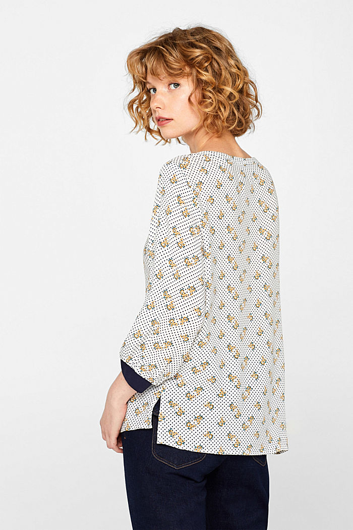 Print blouse with jersey details, OFF WHITE, detail image number 3