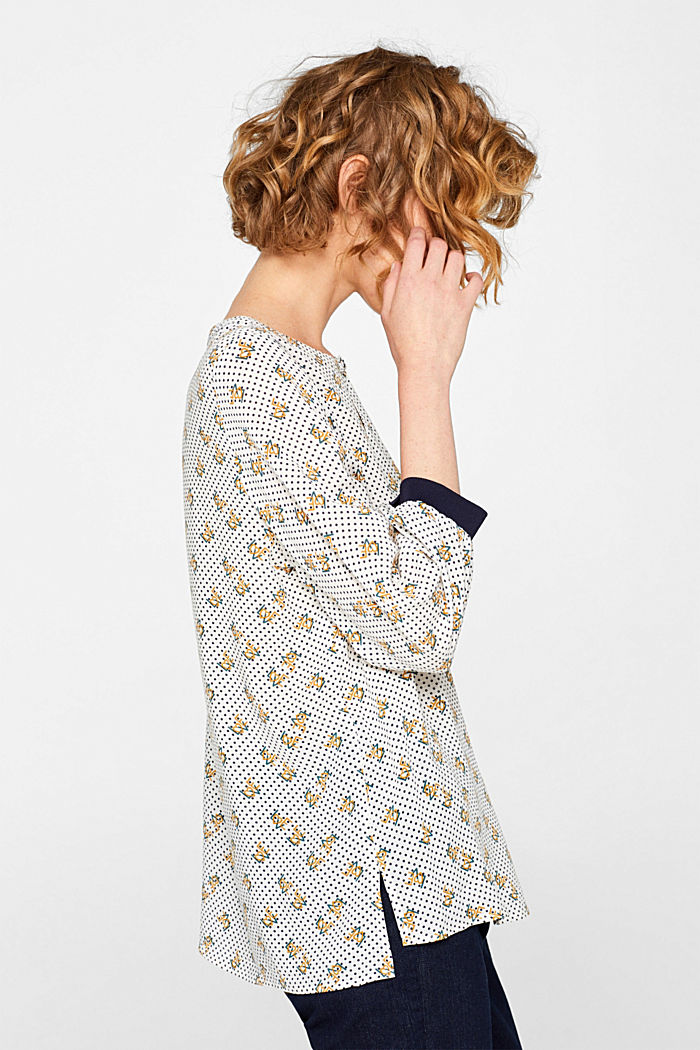 Print blouse with jersey details, OFF WHITE, detail image number 5