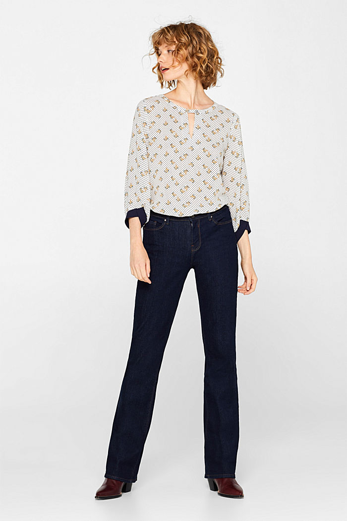 Print blouse with jersey details, OFF WHITE, detail image number 1