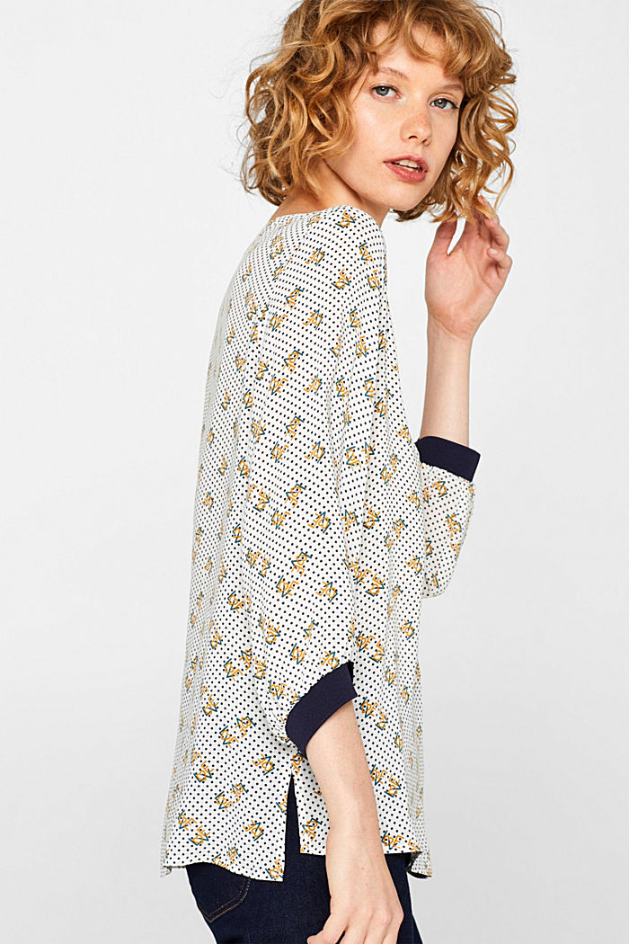 Print blouse with jersey details, OFF WHITE, detail image number 2