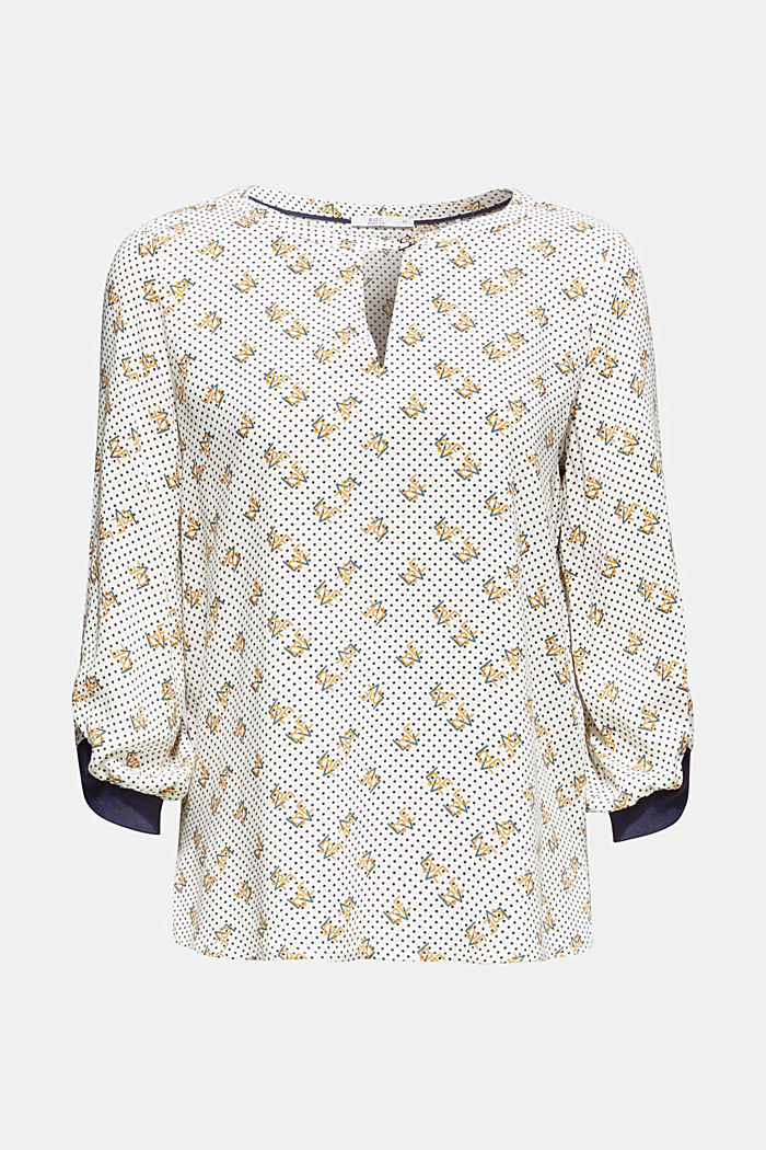 Print blouse with jersey details, OFF WHITE, detail image number 7