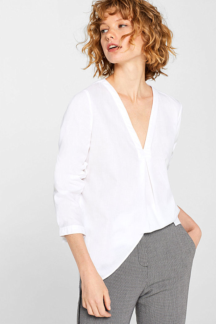 Chambray blouse, 100% cotton, WHITE, detail image number 0