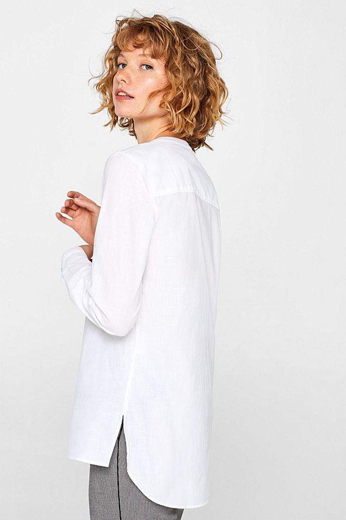 Chambray blouse, 100% cotton, WHITE, detail image number 6