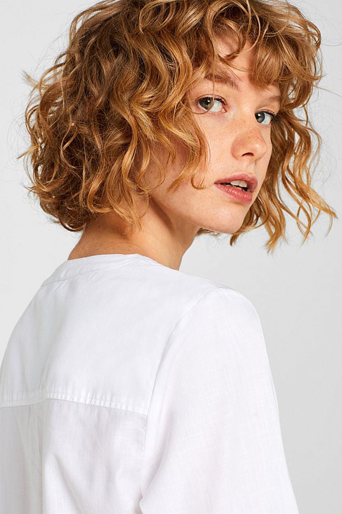 Chambray blouse, 100% cotton, WHITE, detail image number 2