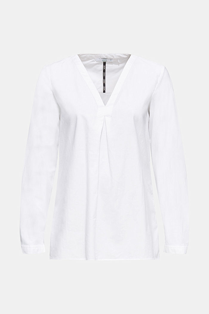 Chambray blouse, 100% cotton, WHITE, detail image number 7