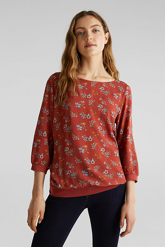 Mixed material blouse, TERRACOTTA, detail image number 0