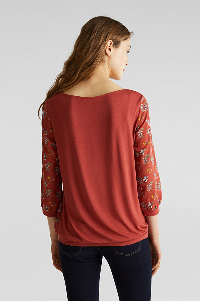 Mixed material blouse, TERRACOTTA, detail image number 3
