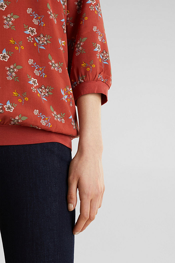 Mixed material blouse, TERRACOTTA, detail image number 2