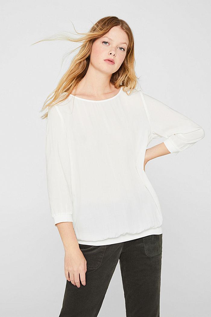 Blouse made of a material mix, OFF WHITE, detail image number 0
