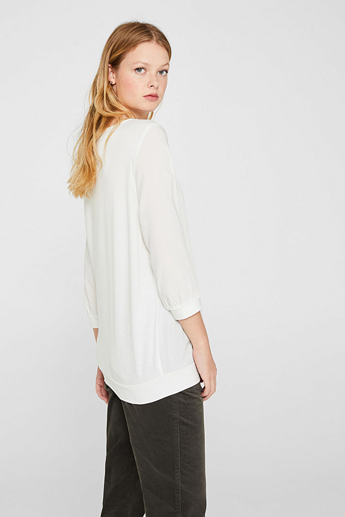 Blouse made of a material mix, OFF WHITE, detail image number 3