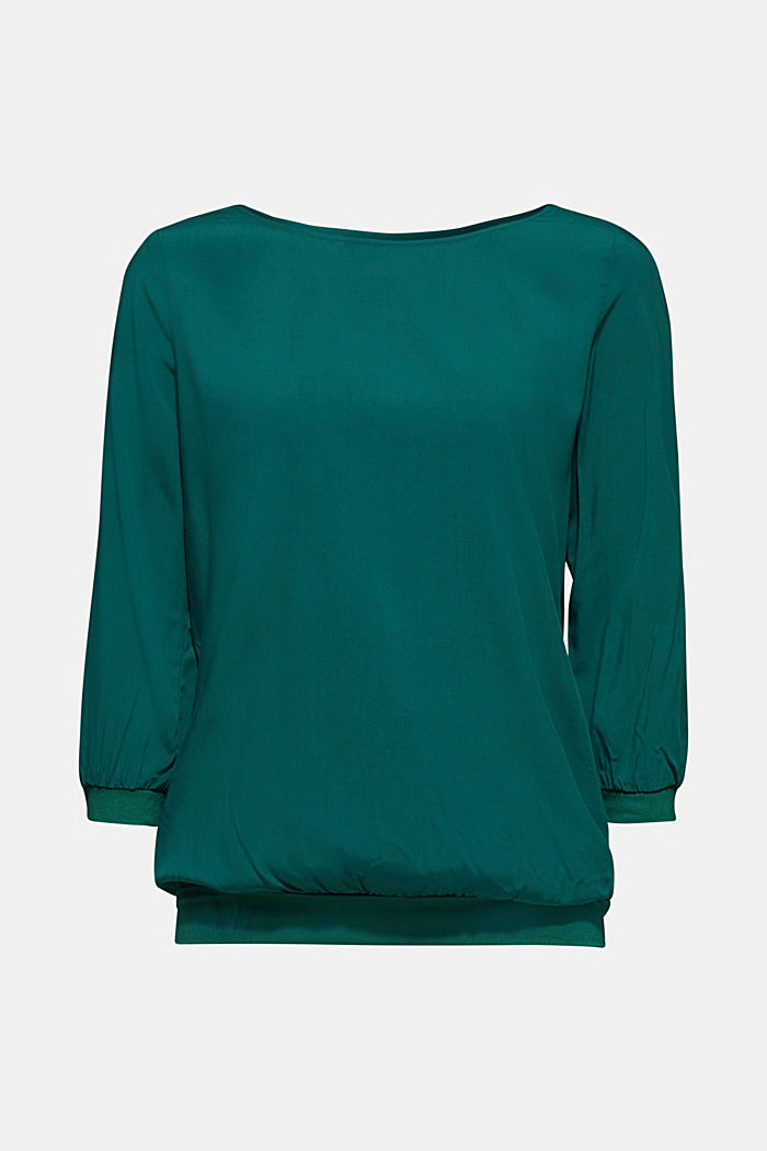 Blusa in materiale misto, BOTTLE GREEN, detail image number 0