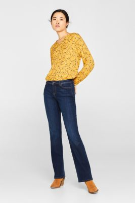 Woven blouse with a jersey border, HONEY YELLOW, detail