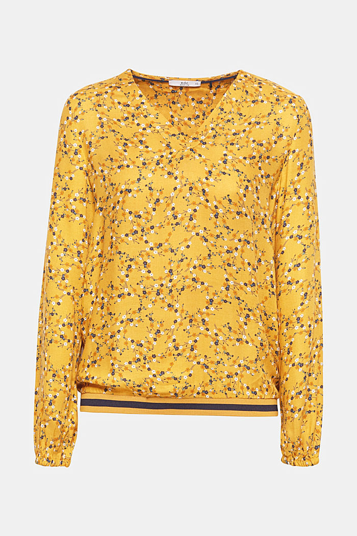 Woven blouse with a jersey border, HONEY YELLOW, detail image number 0