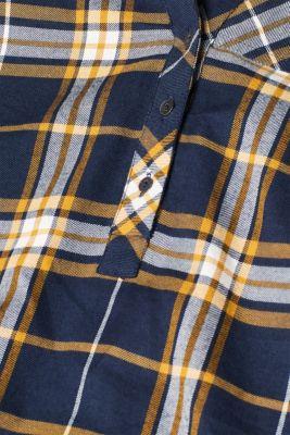 Flannel blouse, 100% cotton, NAVY, detail
