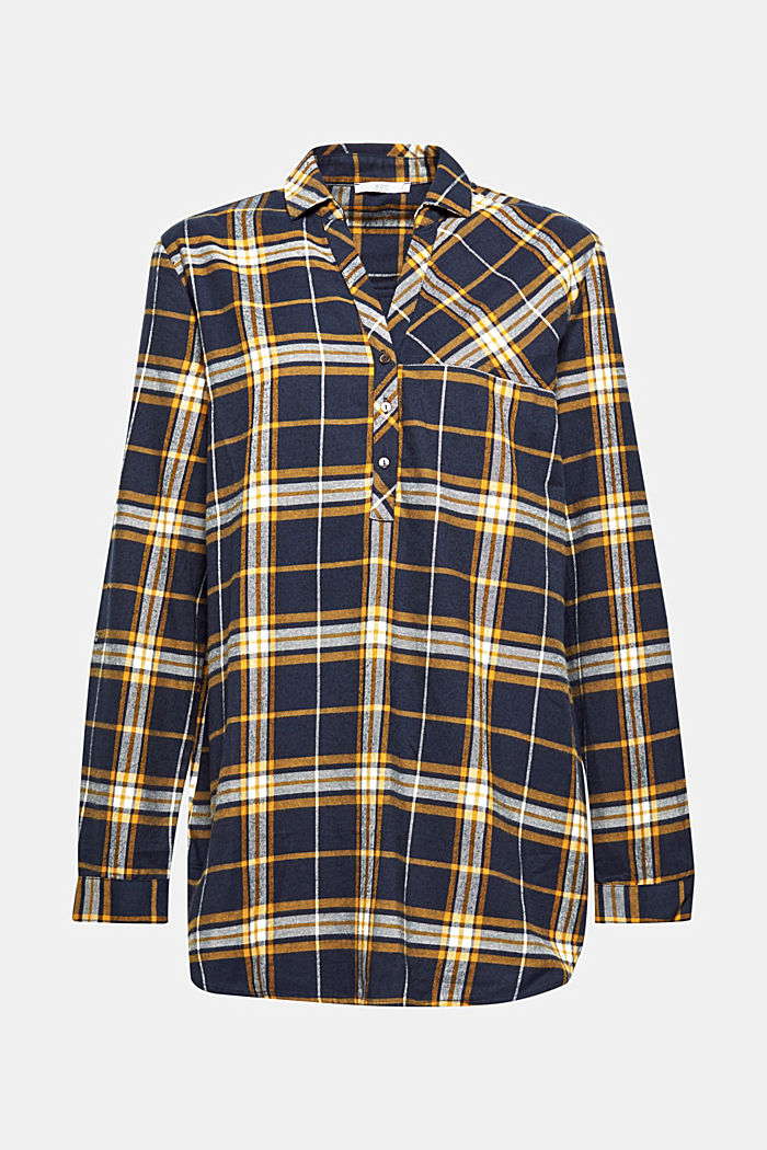 Flannel blouse, 100% cotton, NAVY, detail image number 0