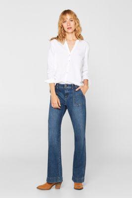 Oxford blouse, 100% cotton, WHITE, detail