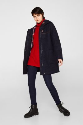 Made of blended wool: bouclé coat, NAVY, detail
