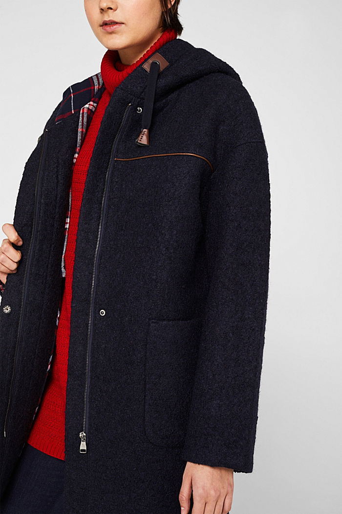 Made of blended wool: bouclé coat, NAVY, detail image number 1