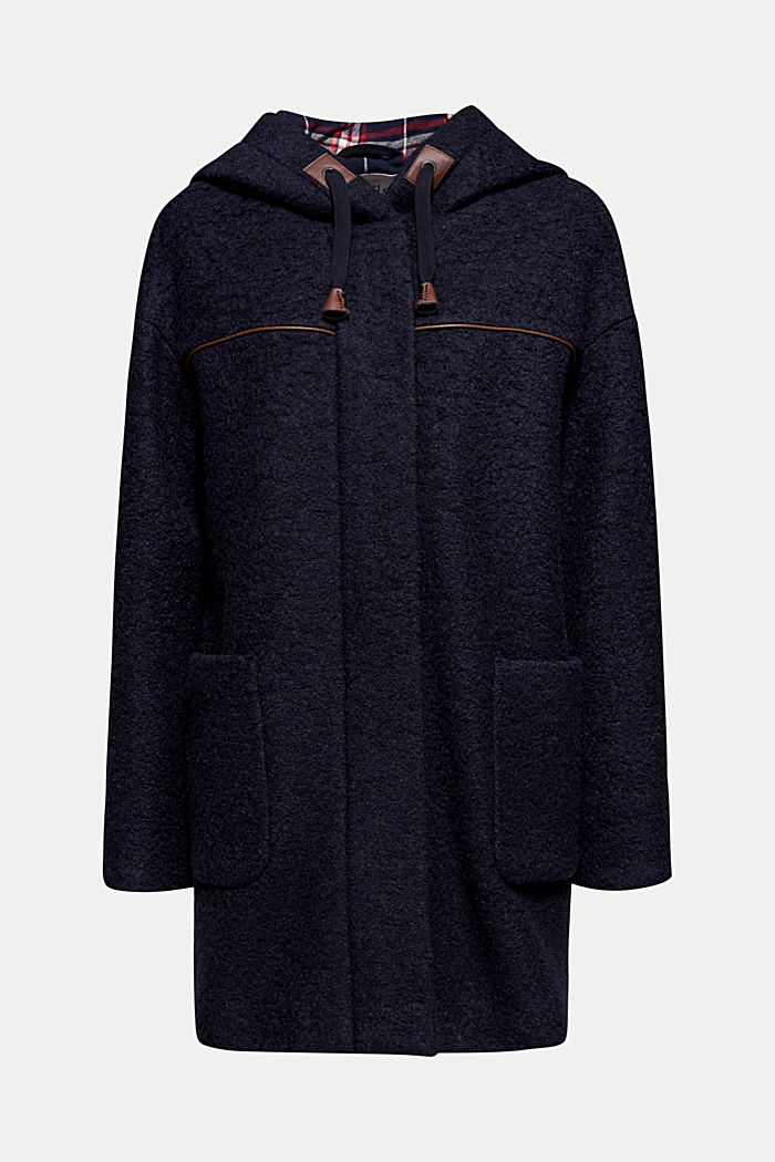 Made of blended wool: bouclé coat, NAVY, detail image number 5