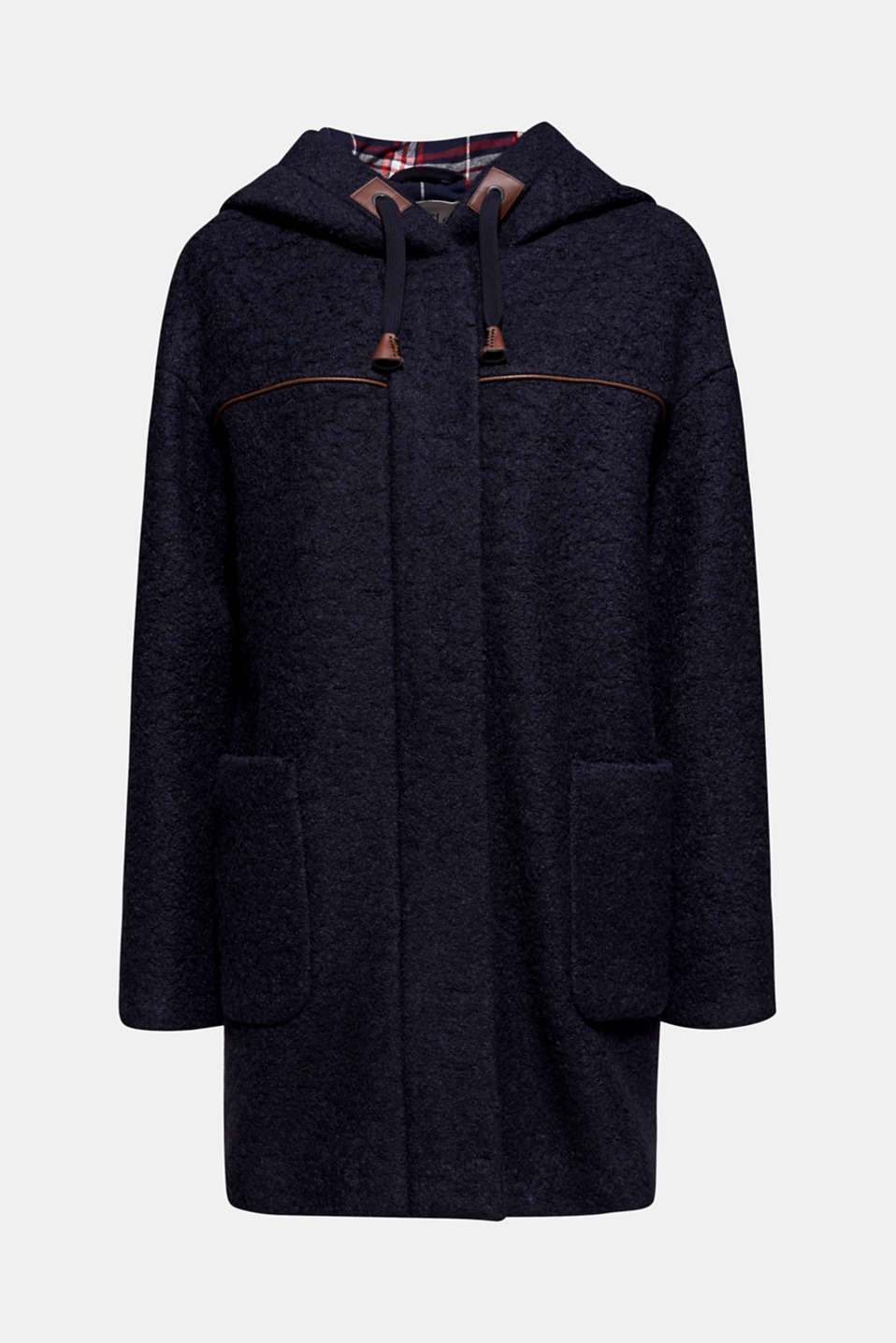 Made of blended wool: bouclé coat, NAVY, detail image number 8
