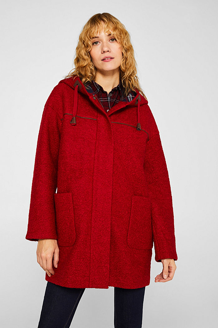 Made of blended wool: bouclé coat, RED, detail image number 0