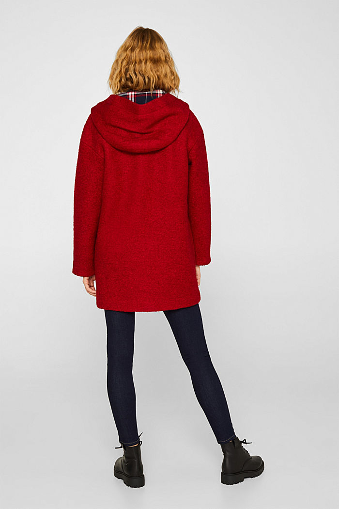 Made of blended wool: bouclé coat, RED, detail image number 2