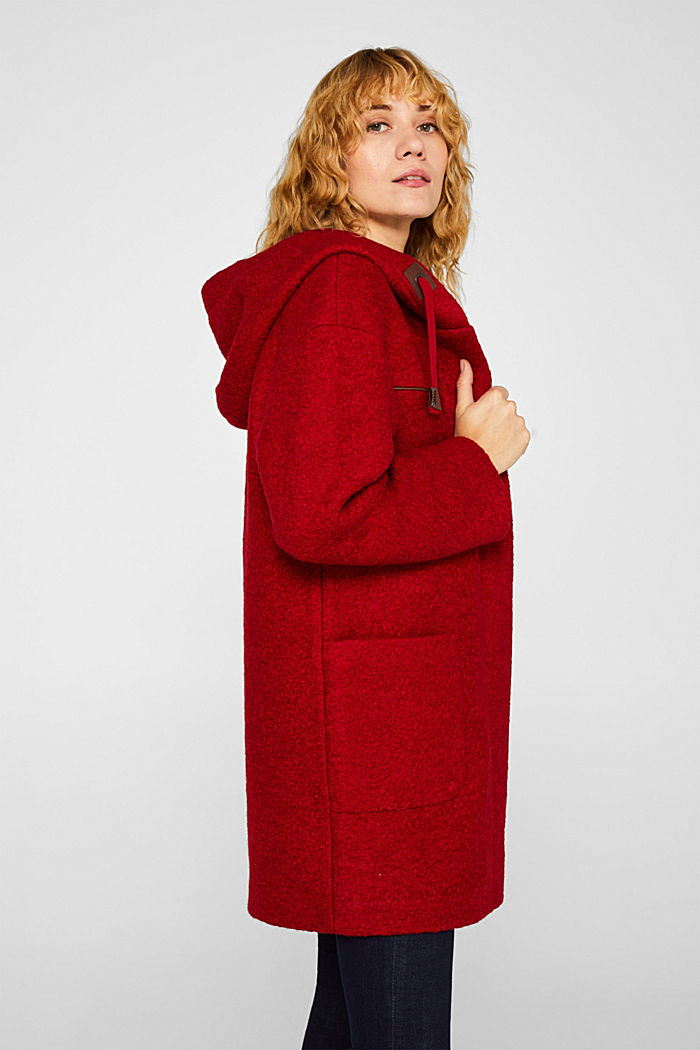 Made of blended wool: bouclé coat, RED, detail image number 4